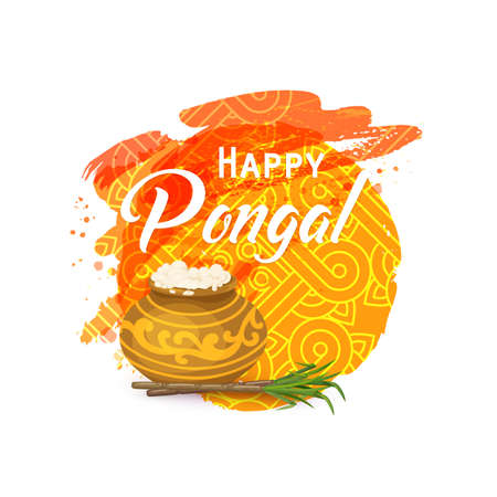 Happy Thai Pongal. Indian harvesting festival. Religious celebration with rice, milk, traditional pot, sugarcane. Watercolor background, rangoli, kolam.  Vector illustration
