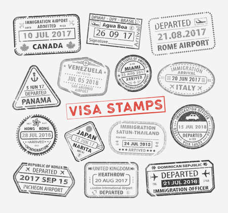 Isolated set of visa passport stamp for travel to Canada or USA, Uk or China, Venezuela or Dominican republic, Japan or Egypt, Korea or Brasil, Italy or Tailand. Tourism icon. Airport sign. Vector. Standard-Bild - 121646175