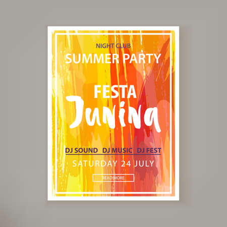 Festa Junina holiday. Night club party. Folklore fest. Club party flyer. Banner for night club. Watercolor background. Template for creative flyer, banner, invitation, promotion. Vector illustration  イラスト・ベクター素材