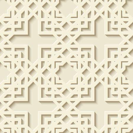 Abstract seamless geometric pattern. Arabic ornament. Moroccan pattern. Modern stylish texture with linear mesh. Simple geometric symmetric print. Editable vector illustration