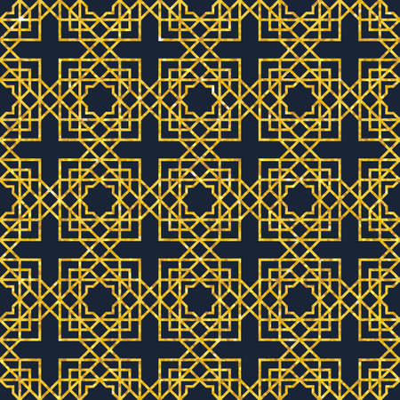 Abstract seamless geometric pattern on golden glittering texture. Arabic ornament. Islamic design. Retro style. Art Deco, glamour pattern in getsby style. Editable vector illustration