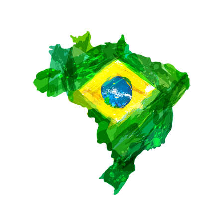 Map of Brazil. Watercolor hand drawn Brazilian map with national flag. Watercolor background, ink stains, colors in Brazil concept. Template for cover design, advertising, banner, card, brochure