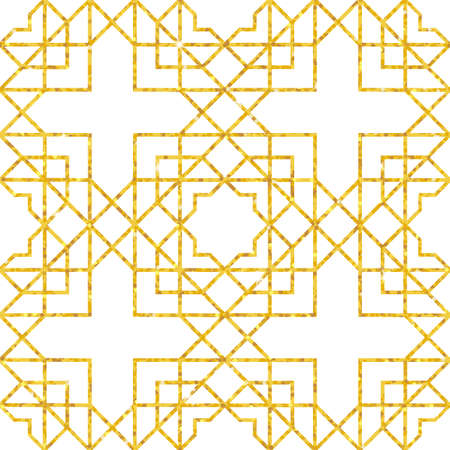 Abstract seamless geometric pattern on golden glittering texture. Arabic ornament. Vintage element for design in Eastern style. Glamour pattern. Ornamental golden decor. Editable vector illustration