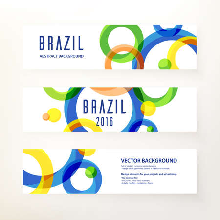 Set of modern horizontal vector banners. Circular ornament, geometric pattern in Brazil color concept. Design elements for your project and advertising. Concept brochure, web site, flyer, banner, ticket