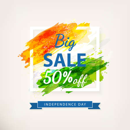 Big Offer Sale for Indian Independence Day celebration. Creative watercolor background in frame. Drawing watercolor brush stroke. Template for discount coupon, brochure, banner. Vector Illustration