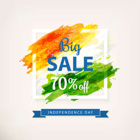 Big Offer Sale for Indian Independence Day. Creative watercolor background in frame. Drawing watercolor brush stroke. Template for discount coupon, brochure, sale, banner, flyer, poster. Vector Illustration