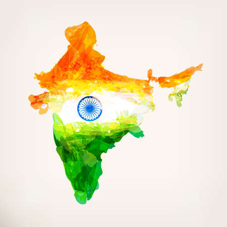 Indian hand drawn watercolor map. Watercolor background in national tricolors. India Independence Day. Template for cover design, advertising, greeting card, brochure, flyer. Vector illustration