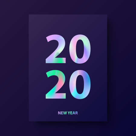 New Year card, modern cover design with holographic text 2020. Holographic design in style material design. Winter holiday invitations, poster, brochure, magazine, flyer. Vector illustration