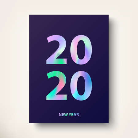2020, New Year card. Modern cover design with trendy Holographic effect text. Modern holographic covers design in stylish 80's. Greeting card with inscription Happy New Year 2019. Vector illustration