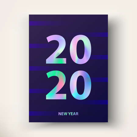 New Year card 2020. Modern poster design in trendy Holographic colours. Creative concept. Greetings and invitations cards. Applicable template for gift card, postcard, poster, brochure, flyer. Vector