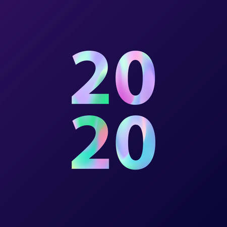 New Year 2020 card in minimalist style. Greeting card with holographic effect. Modern creative concept, cover design for gift card, flyer, poster, brochure, banner, magazine. Vector illustration  イラスト・ベクター素材