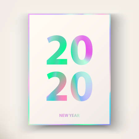 2020 New Year card. Modern cover design in trendy Holographic colours. Applicable template for gift card, poster, magazine, flyer. Holiday background. Winter invitation card. Vector illustration  イラスト・ベクター素材