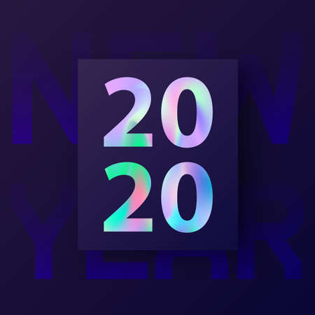 2020 New Year card with holographic background in stylish 80's, material design. Abstract Holographic shapes. Happy New Year 2020 text design. Greeting and invitation card. Vector illustration, EPS 10  イラスト・ベクター素材