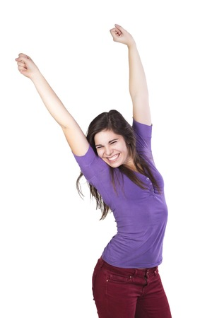 celebrated: Brunette woman happily celebrated her victory isolated on white Stock Photo