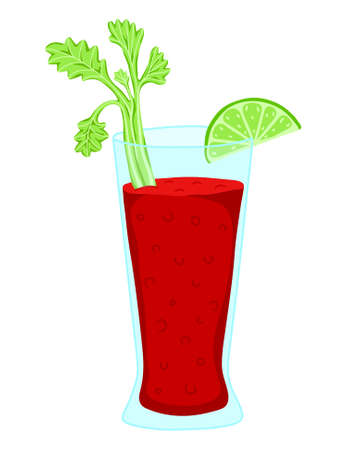 tomato juice or bloody mary in glass, with lime and celery. flat illustration isolated Ilustração