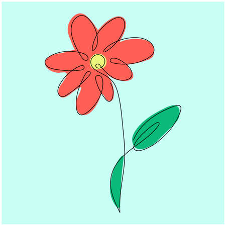 simple coral spring flower with green leaf. line art