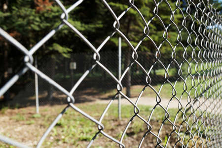 metal mesh fence in the park close up