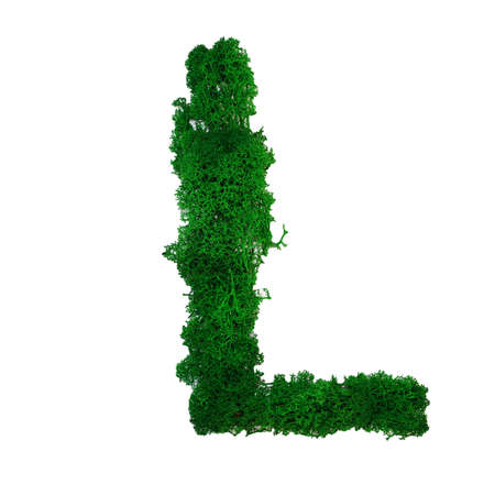 Letter L of the English alphabet made from green stabilized moss, isolated on white background.