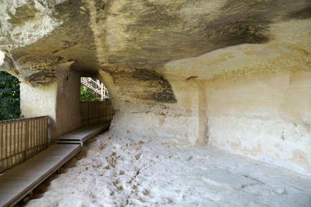 ancient male monastery Aladzha in the rock, refectory. Standard-Bild