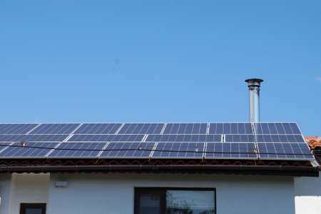 solar panels on the roof of a residential building in Bulgaria.