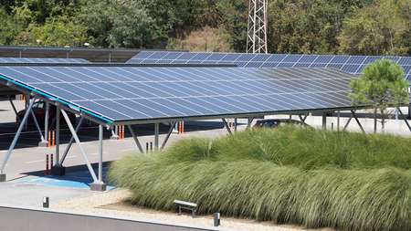 solar panels on the roof of a car park of an office center in Bulgaria. Standard-Bild