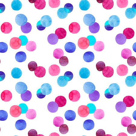 Abstract lovely cute beautiful artistic tender wonderful transparent bright red, pink, magenta, purple, violet, blue, indigo circles pattern watercolor hand illustration Stock Photo