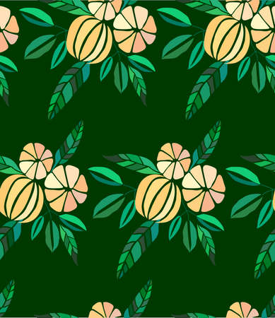 Beautiful bright colorful delicious tasty yummy ripe juicy lovely orange summer autumn dessert slices of oranges and mandarins pattern on dark background vector illustration.