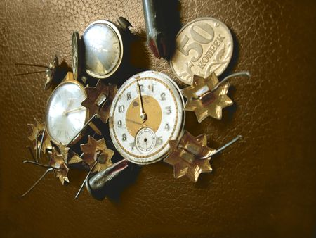 coppers: Retro watch, stars, coins and bullets