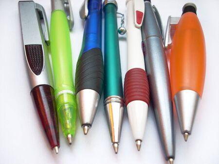 biro: Different colored  pens Stock Photo