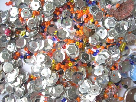 spangles: Shining glass beads and spangles texture Stock Photo