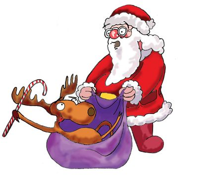 Deer, Santa Claus. Illustration made in Photoshop. Stock Illustration - 3647530