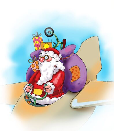 Santa Claus with his presents on the plane. Illustration made in Photoshop. illustration