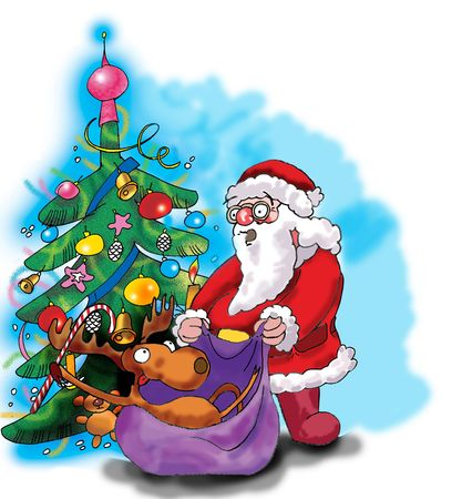 Deer, Santa Claus and Christmas tree. Illustration made in Photoshop. illustration