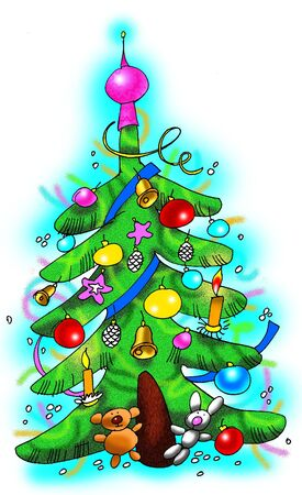 Christmas tree greeting card. Illustration made in Photoshop. Stock Illustration - 3647532