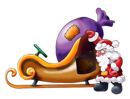 gifted: Santa Claus having a rest near his sledge.