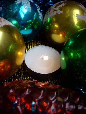Christmas still life with lightening candle Stock Photo - 3667105