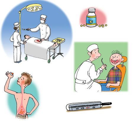 Some Raster illustrations about healthcare and medicine, illness and doctors illustration