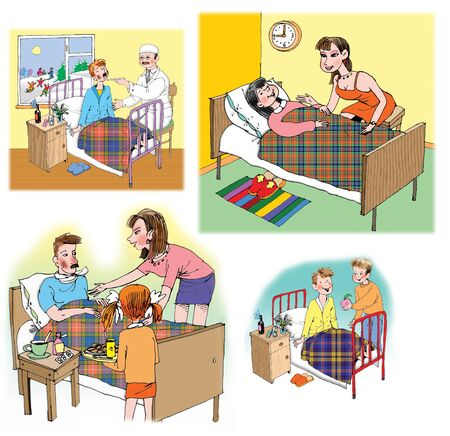 flue: Some Raster illustrations about healthcare and medicine, illness and doctors