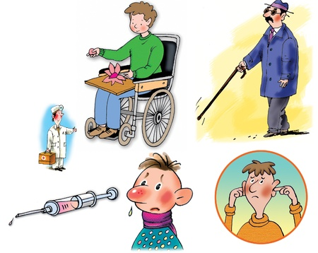 blind people: Some Raster illustrations about healthcare and medicine, illness and doctors