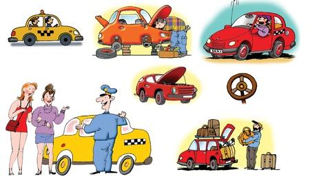 taxista: Ilustraciones de dibujado a mano sobre los diferentes veh�culos