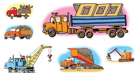 trucker: Hand drawn illustrations about different vehicles