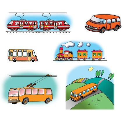 motorbus: Hand drawn illustrations about different vehicles