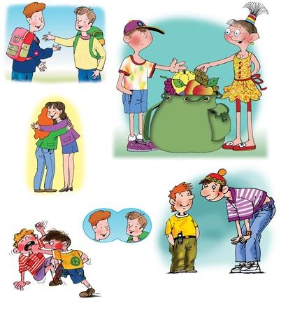 generosidad: Ilustraciones de mapa de bits dibujado a mano sobre las relaciones entre diferentes personas. Sobre fondo blanco Foto de archivo