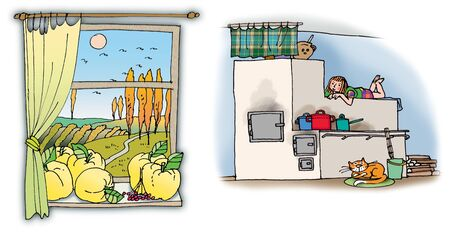 Hand drawn illustrations with rural house parts. On white background Stock Photo