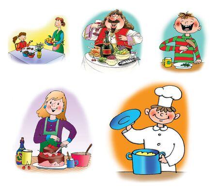 Handgezeichnete Abbildungen von Menschen, die Essen und Kochen Essen. Auf weißem Hintergrund