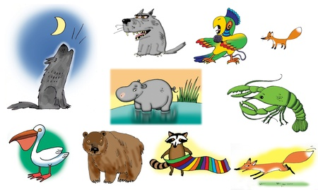 Raster illustrations about different animals. On white background. illustration