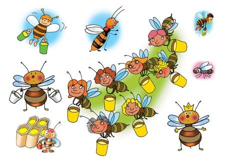 raster illustration: Raster illustrations of bees on white background