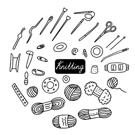 Big set of knitting equipment for design of knitting catalogs, shops, business cards, labels. Hand drawn icons of tools wool, yarn, spool, scissors, needle, hook, thimble, stitch markers. Doodle style