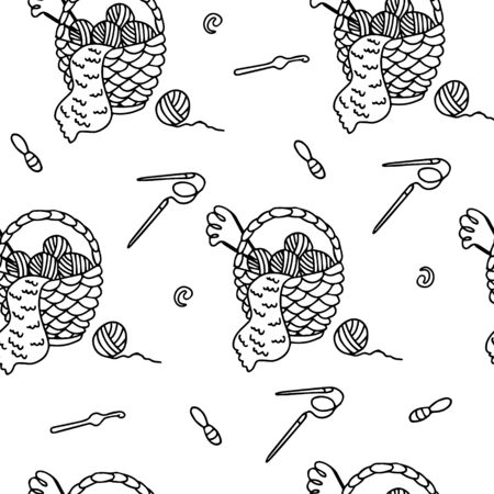 A wicker basket with yarn balls, knitting needles, crochet hooks and stitch markers. Vector seamless pattern on white. Great for fabric, wrapping papers, wallpapers, cover. Hobby theme doodle outline. Illusztráció