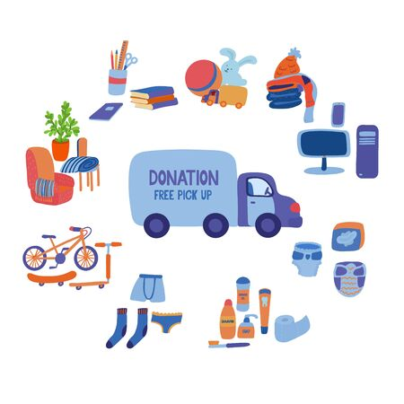 A big set of items you can donate for charity and a delivery truck. Electronics, furniture, blanket, school supplies, hygiene products, pads, diapers, underwear and socks, toys, bicycle, toilet paper
